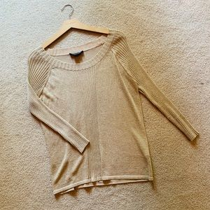 Colette Mordo Gold Sparkly Long Sleeve Ribbed Top